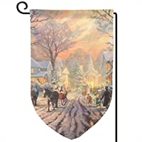 Socksforu Victorian Christmas Carol By Thomas Kinkade Art Garden Flag Yard Flag 12.5 X 18inch Home Decorative House Flag,Banners For Patio Lawn Outdoor