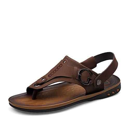 HILOTU-Sandali uomo Flip Flops with Toe Ring Pantofole Traspiranti Sandali Piatti in Pelle (Color : Marrone Scuro, Dimensione : 43 EU)