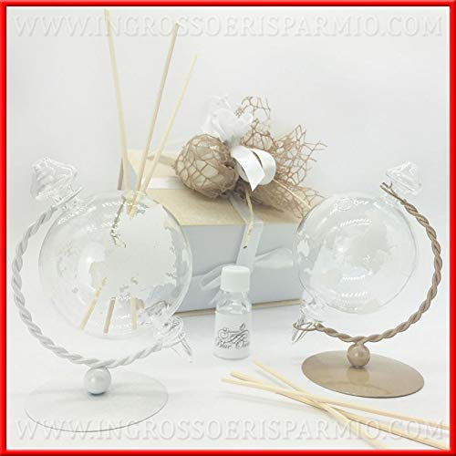 Ingrosso e risparmio profumatore d'ambienti a forma di mappamondo in vetro e metallo bianco o tortora bomboniere matrimonio, in due colori, completo di scatola regalo (bianco-con confezione rossa)