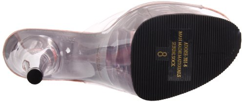 Pleaser Adore-701-4, Sandales Bout Ouvert Femme Transparent/Baby Pink