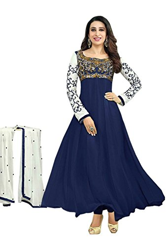 Sdfashions Women Georgette Dress Material (Sd-30008-Navy-Blue _Blue _42)