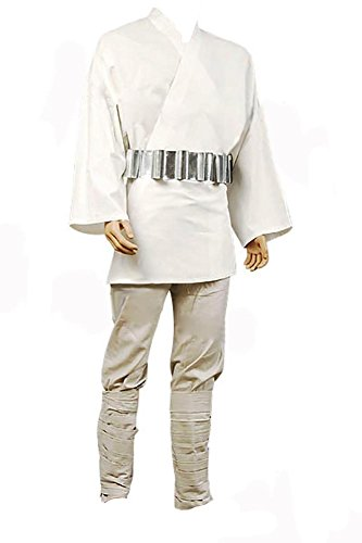 Wars Kostüm Star Luke Skywalker - FUMAN Star Wars Luke Skywalker Tunic Cosplay Kostüm Herren weiß XL