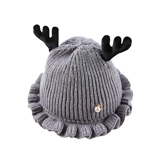 Republe Baby-Mädchen Antlers Knitting Hut Infant Winter-Rüschen Beanie Mütze ()