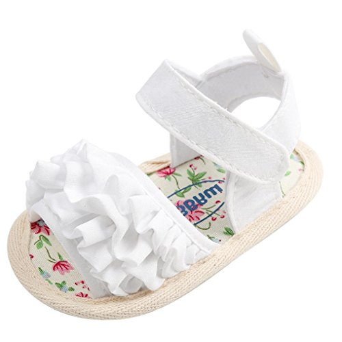 Blumen Sandalen Neugeborene Krabbelschuhe Erste Schuhe(0-6 Monate,Weiß) ()
