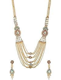 ARAFA Jewelry Gold Alloy Multi-Strand Necklace Set For Women (AZ16) With Multi Colour Diamonds/Latest Design/Ethnic...