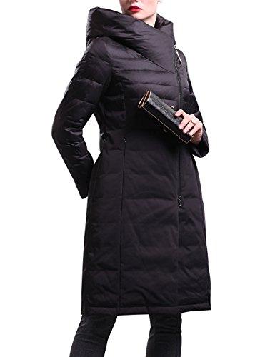 Youlee Damen Winter Oblique Zipper Großer Kragen Schlank Mit Kapuze Mantel Schwarz