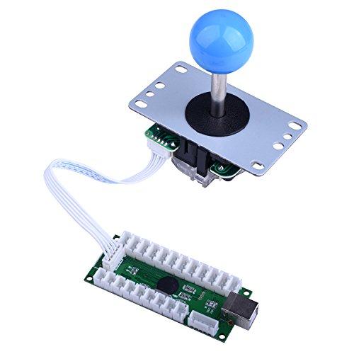 For Raspberry Pi 3 2 model B Retropie  Longruner LED Arcade DIY Parts 2x Zero Delay USB Encoder + 2x 8 Way Joystick + 20x LED Illuminated Push Buttons for Mame Jamma Arcade Project Red + Blue Kits