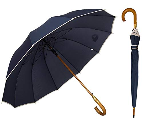 AP® - Automatik Regenschirm windfest für Damen und Herren - eleganter Stock-Schirm aus Holz - 12 fache Verstrebung Carbon Fiber - groß stabil & windresistent sturmfest - 115cm Ø (Blau)