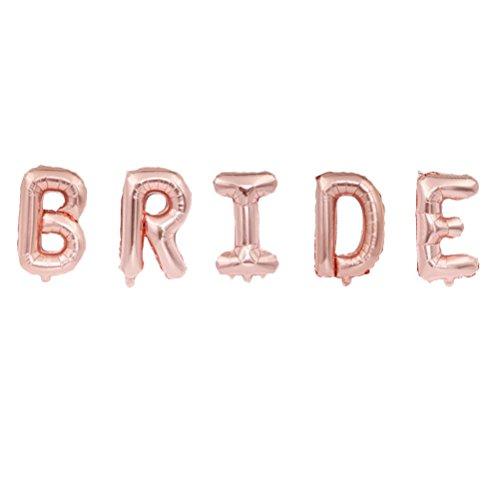 BESTOYARD Braut Rose Gold Ballons Brief Ballons Party Dekoration für Hochzeit Bridal Shower Supplies, 16 Zoll