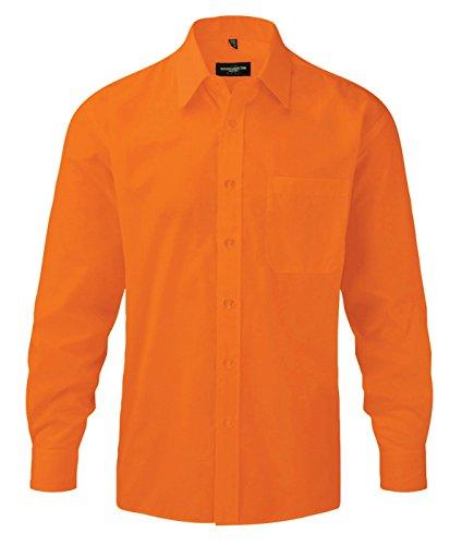 Z934 Langarm Popeline-Hemd Oberhemd Herren Hemd Russell Orange