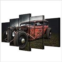 DYDONGWL Multi Panel Impresiones de Lienzo Pinturas Decoración para el hogar 5 Piezas Hot Rod Antiguo