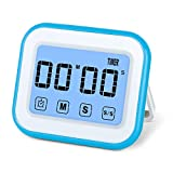 MOSUO Timer da Cucina Touch-Screen, Magnetico Timer Digitale/Clock/Sveglia Digitale con Cronometro, Orologio Digitale a Placche Metallo, 12/24 Ore, Countdown/Counting, Display LED, Bianco Blu