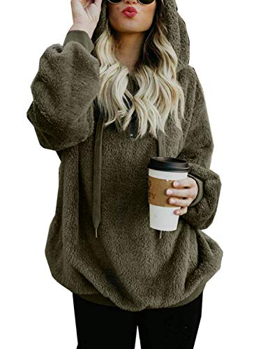 Sweat à Capuche Femme Casual Hoodie Flanelle Chaud Polaire Pull Poche Hiver Mode Sweatshirt Grande Taille Oversize Outerwear Pullover (armée Verte, Large)
