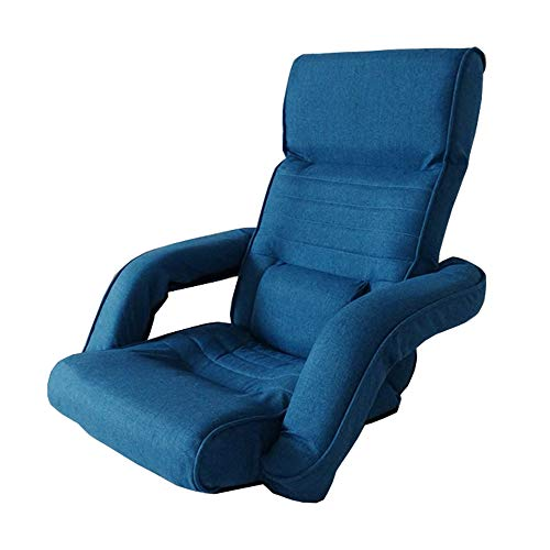 LJFYXZ Canapé Paresseux Chaise Réglage à 14 Vitesses avec accoudoirs Chambre Confortable Petit canapé Pliable Fauteuil (Couleur : Bleu)