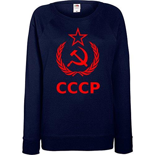 TRVPPY - Sweat Pull, modèle CCCP Hammer Sichel - Femme, différentes tailles et couleurs Rouge-Bleu Marine