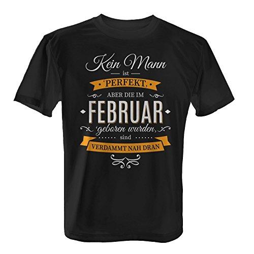 Fashionalarm Herren T-Shirt - Kein Mann ist perfekt - Februar | Fun Shirt mit Spruch als Geburtstag Geschenk Idee Schwarz