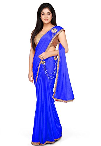 Aarti Saree Pre-Stitched Saree Lycra Saree in Royal Blue With Un-Stitched Running...