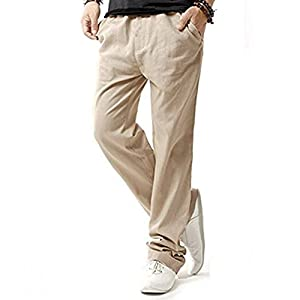 Herren Casual Leinenhosen Leichte Elastische Bund Taschen Sommer Jogginghose Outdoor/Arbeit/Walking 7 Farben