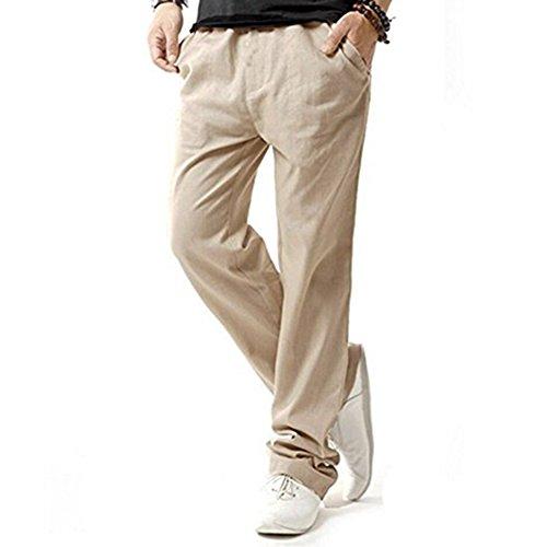 Hibote Pantalones Hombre Verano Pantalones de Lino Sueltos Pantalón de Playa con Bolsillos Laterales Pantalones Hombres Largos Pantalone Casuales Transpirable Cómodo Claros