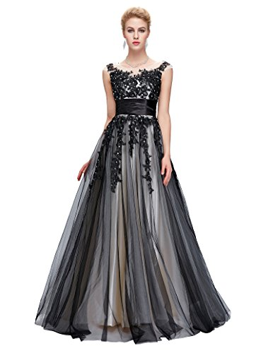 GK Prom Dress Fashion ballkleider lang abendkleider mit schwarz applikation maxikleid partykleid...