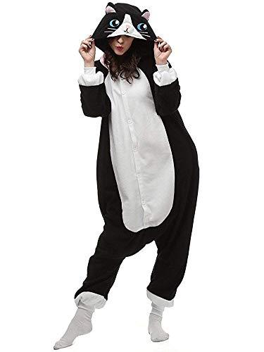 Kostüm Katzen Für Einfache - ABYED® Kostüm Jumpsuit Onesie Tier Fasching Karneval Halloween kostüm Erwachsene Unisex Cosplay Schlafanzug- Größe S - für Höhe 148-155cm, Schwarze Katze
