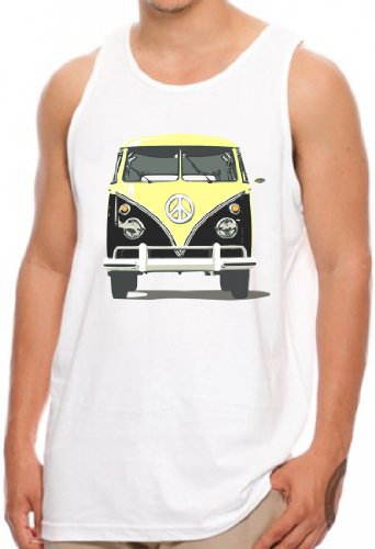 OM3 - PEACE BUS GELB - Tank Top Classic Kult Bus T1 T2 Samba Hippie Flower Power Mobil Music, S - 4XL Weiß
