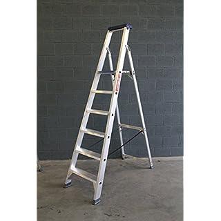 ASC Stufenstehleiter, Alu-Trittleiter, Standleiter, 7 extrabreite Stufen, DIN-EN 131 bis 150 kg, Profi-Qualität