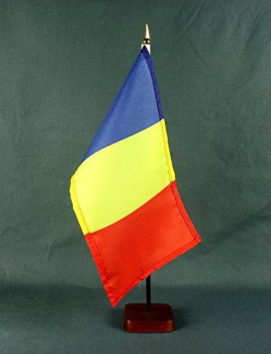 Tischflagge Rumänien 15x25 cm mit Tischflaggenständer 37 cm aus Holz, sehr standfest
