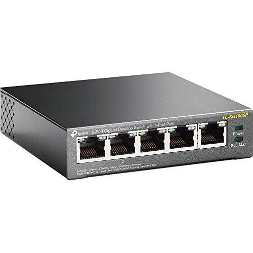 TP-Link TL-SG1005P 5-Port Gigabit PoE Switch (5 Anschlüsse mit 10/ 100/ 1000 Mbit/s, 4 davon mit PoE-Unterstützung, Plug-and-Play, Metallgehäuse)