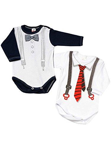 Einfache Linien Collection (Klekle Baby Jungen Langarm Body (2er Pack) Weiß mit Krawatte/Navy mit Fliege 22801 Größe 62)