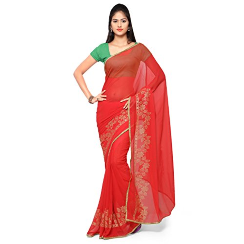 Kvsfab Cotton/Supernet half n half saree,Beige & Red