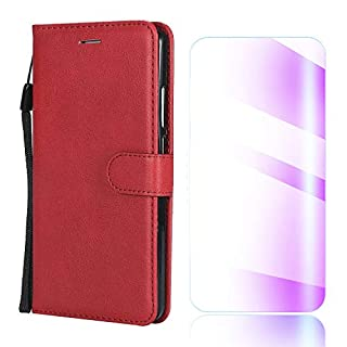 The Grafu Galaxy S6 Case, Shockproof Leather Wallet Flip Case [with Free Tempered Glass Screen Protector] Stand Function Cover for Samsung Galaxy S6, Red