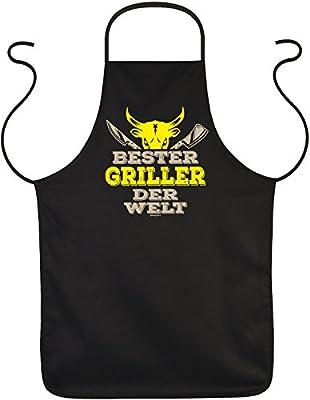 Lustige Sprüche Fun Schürze Bester GRILLER der WELT - Grill-Schutz mit Motiv-Druck