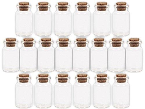 Alsino 20 Stück Leere Mini Glasfläschchen Schnapsflaschen Gewürzgläser mit Korken, 2 x 4 cm, 8 ml, Pflanzensamen, Gewürzdose, Hochzeitsgeschenk, Deko-Accessoire, GF-01