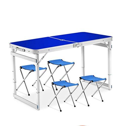 zyy Faltender Im Freien Kampierender Tisch, Bewegliche Justierbare Tabellenecke, Aluminiumlegierungs-Tischplatte Und Speicherbeutel (Farbe : Blau, größe : Four stools)
