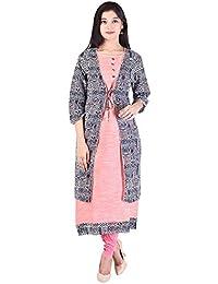 CRAZORA Women's Cotton Long kurta with Printed Jacket