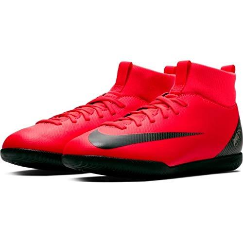Nike Bota de Futbol Sala CR7 Mercurial Superfly 6 Academy Suela Lisa  Roja Plata Niño 05809645315e4