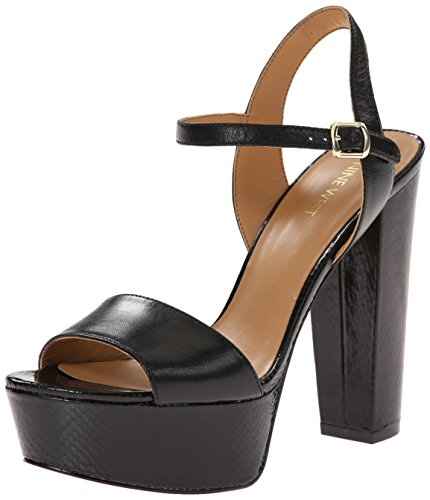 Nine West Carnation Cuir Sandales Compensés Black