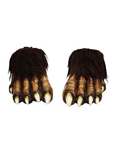 Wolf Füße in braun aus Latex zum Werwolf Kostüm an (Füße Kostüme Wolf)
