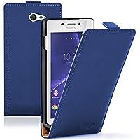 Membrane - Ultra Slim Blu Custodia per Sony Xperia M2 Aqua - Flip Case Cover + 2 Pellicola