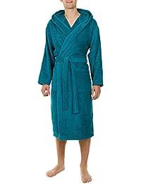 John Christian - Peignoir à capuche en éponge - Bleu Vert - 100% Coton