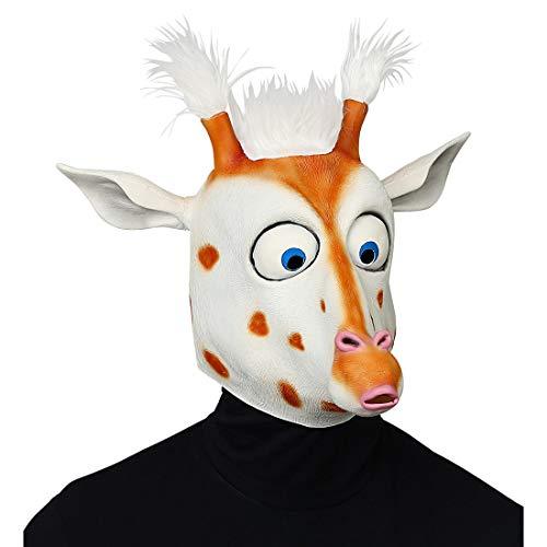 NET TOYS Maske Crazy Giraffe mit großen Augen | Weiß-Braun | Witziges Unisex-Kostüm-Zubehör Tiermaske Erwachsene | Perfekt geeignet für Mottoparty & Fasching