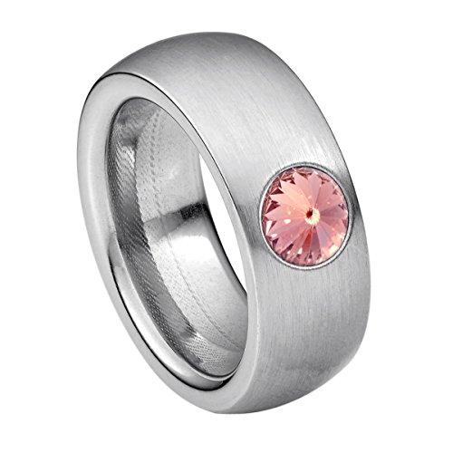 Heideman Ring Damen Coma 8 aus Edelstahl Silber farbend matt Damenring für Frauen mit Swarovski Stein Kristall Light Rose pink im Fantasie Edelsteinschliff 6mm