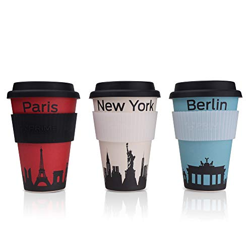 PRIME ART WOOD® Bambus Coffee-to-Go Becher (inkl. optimalem Hitzeschutz) Kaffee-Becher, Trink-Becher – Umweltfreundlich, Spülmaschinenfest, Lebensmittelecht, 450ml (Designs: Paris, Berlin, New York)