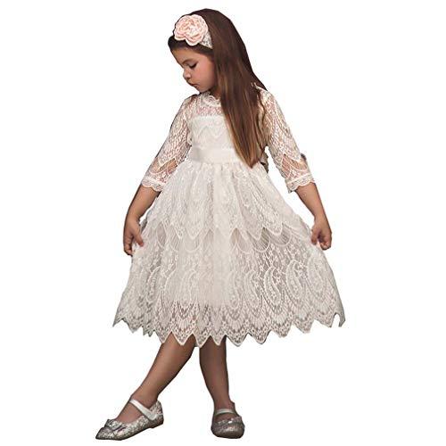 Kleid Mädchen Spitze Weiß Bogen Prinzessin Kinder Baby Blumenmädchen Hochzeitskleid Party Elegant...