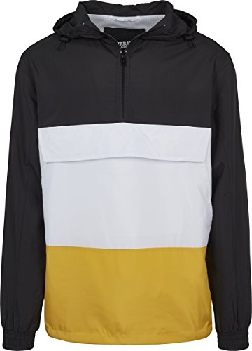 Urban Classics Herren Windbreaker Color Block Pull-Over Jacket, leichte Streetwear Schlupfjacke, Überziehjacke für Frühjahr und Herbst - Farbe black/chrome yellow/white, Größe L