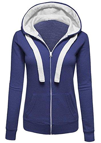 Minetom Femmes Automne Hiver Printemps Sweat À Capuche Manche Longue Veste Mode Parka Manteau Bleu 36