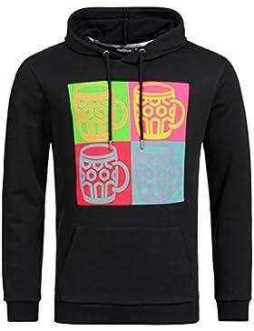 Tracht & Pracht - Herren 100% Baumwolle - Hoodie Kapuzenjacke Sweatshirt Pullover Shirt POP ART