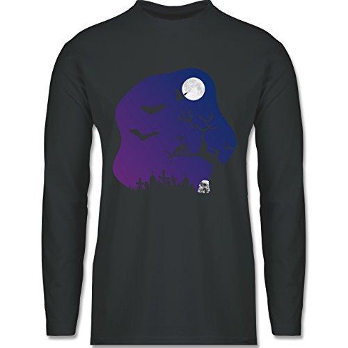 Halloween - Friedhof gruselig Totenkopf Mond - Longsleeve / langärmeliges T-Shirt für Herren Anthrazit