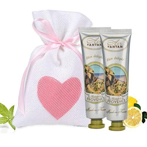 Gift Box Woman Hand Cream French Moisturizing Provence with Shea Butter and Aloe Vera, Verbena Perfume, Bergamot and Lemon, 2x25ml, Ideas Original Gift Boxes, Mother's Day